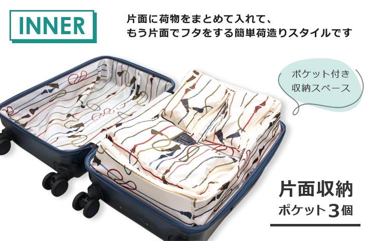片面に荷物をまとめて入れてもう片面でフタをする収納スタイルです
