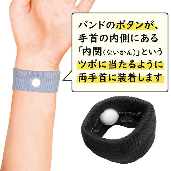 内関のツボにボタンが当たるように両手首に装着します