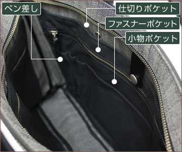内装には便利な収納ポケットが両側にあります