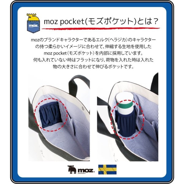 伸縮性のある素材で荷物を固定するモズポケット